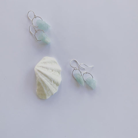 Amazonite earrings. Rough cut and raw amazonite with sterling silver loops on sterling silver ear hooks  Amazonite is a beautiful blue stone...... it is said to calm the nervous system and aid in optimum health. Amazonite connects to the heart chakra and the energy of water.  It is also said to protect against electro magnetic pollution, absorbing microwaves and cell phone emanations.