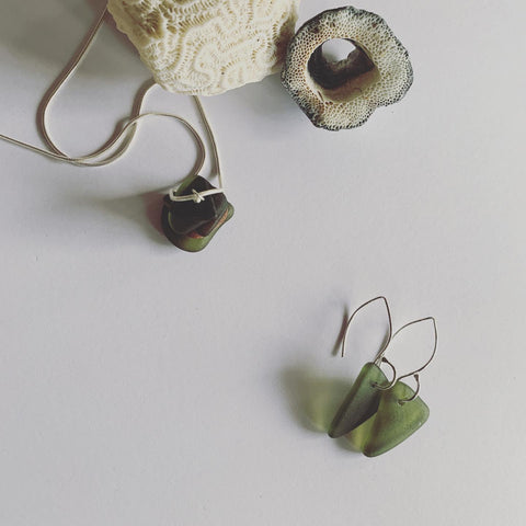 Beach Glass Earrings Greens on Small Wish Bone Ear hooks