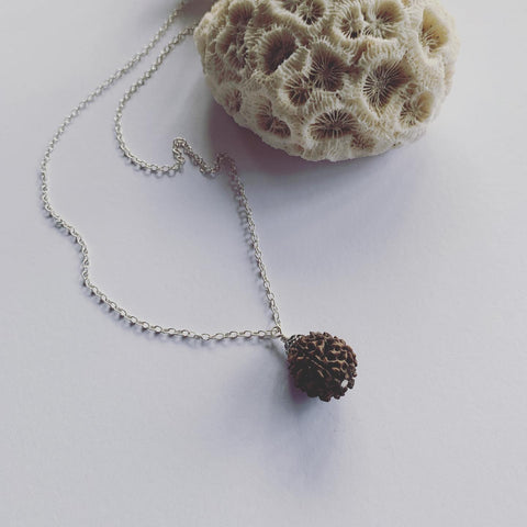 Rudraksha on sterling silver chain