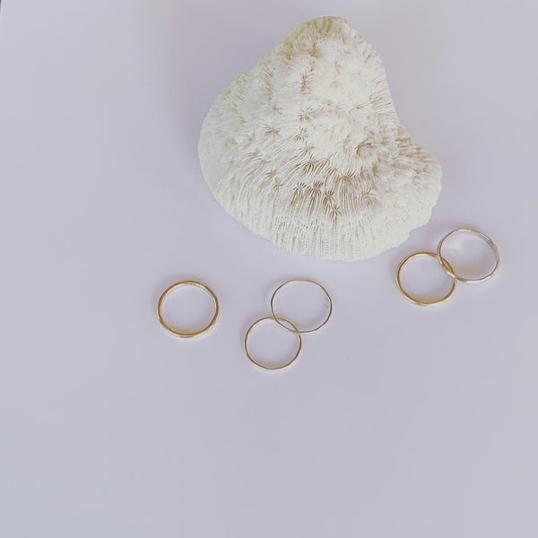 Smooth and serene, complete and forever gold stacker rings  Fine and medium 9 carat gold stacker rings.  It's the simple divine pleasures.