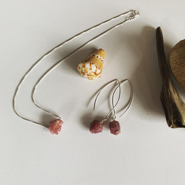 Pink Tourmaline on Italian Box Chain