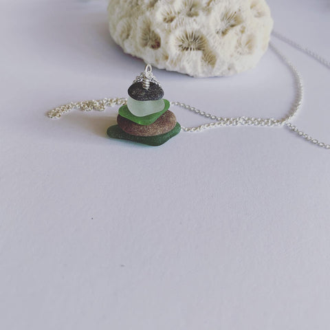 Beach Glass and Beach Pebble Serenity Stack