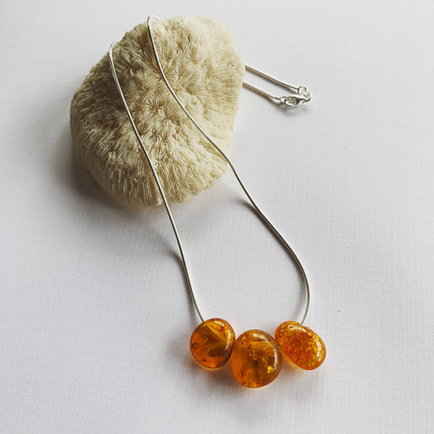 Amber Droplets on Sterling Silver Snake Chain