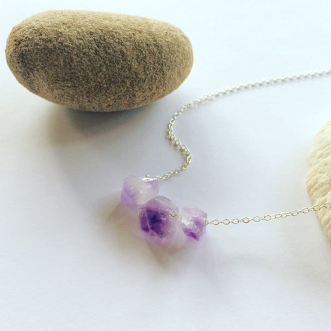 Rough cut Amethyst on Sterling Silver Chain