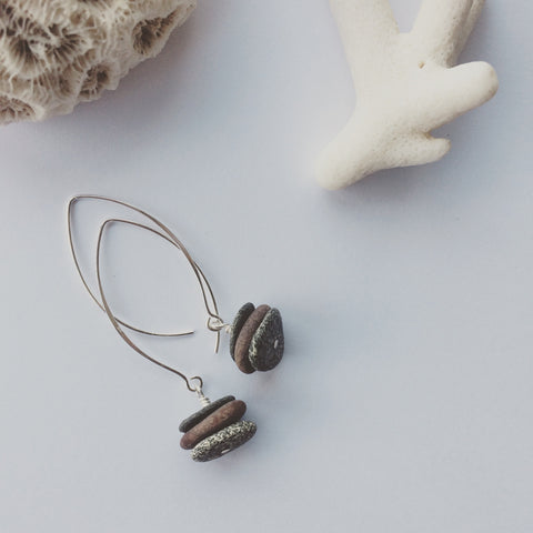 Beach Pebble Earrings on Wish Bone Ear Hooks