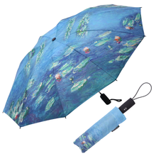 Load image into Gallery viewer, Monet Water Lilies Folding Travel Umbrella