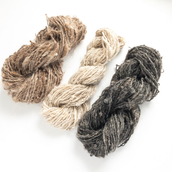 White, brown, and gray black mohair handspun rustic yarn collection of three skeins