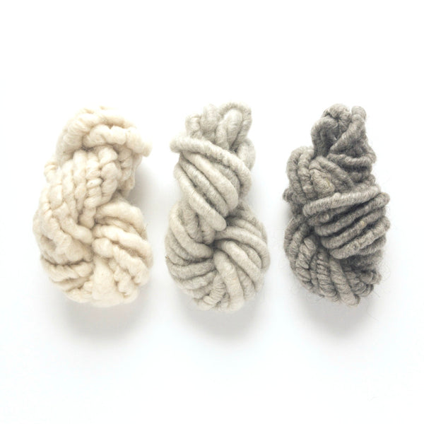Stormy white and gray and charcoal black mohair corespun yarn three mini skein yarn pack