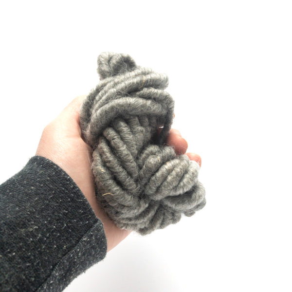 Gray mohair corespun yarn available by the yard