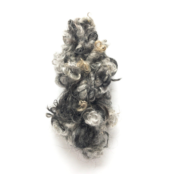 Gray black handspun lockspun mohair yarn