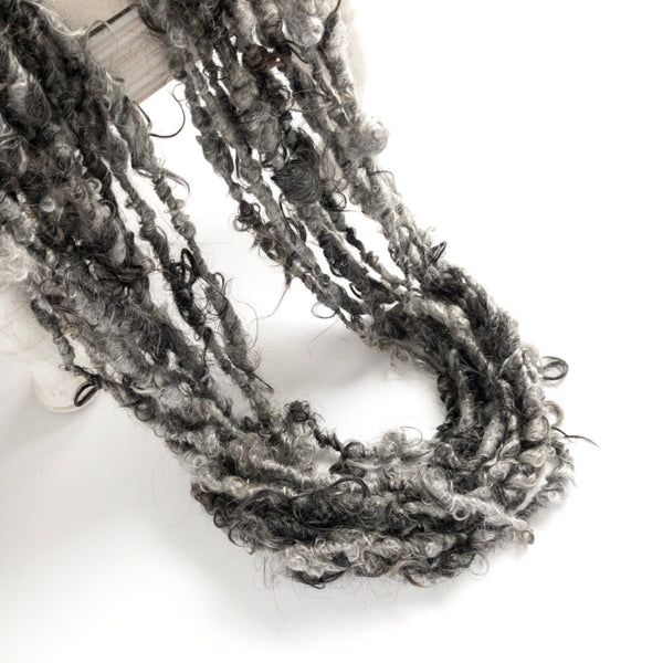 Shades of gray and black lockspun handspun mohair yarn