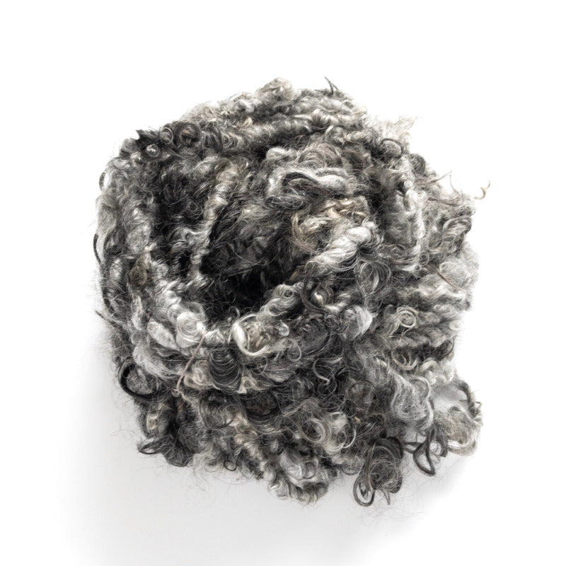 Shades of gray and black handspun mohair lockspun yarn