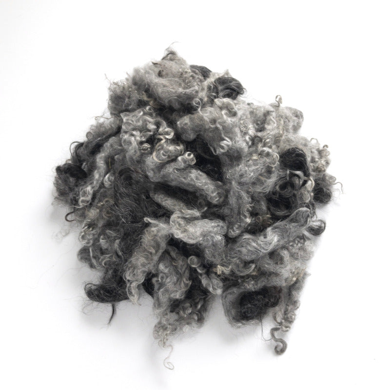 Mixture of gray and black mohair locks