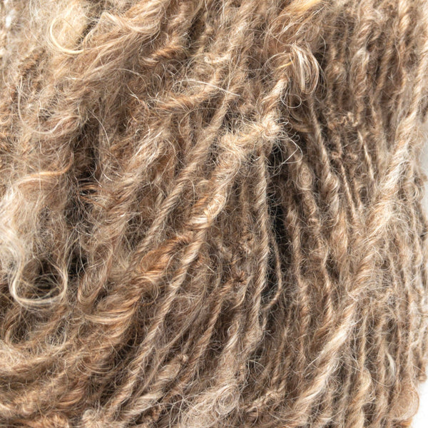 Brown handspun rustic mohair yarn closeup