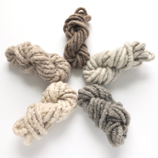 Five natural shades of mohair corespun mini skein yarn collection