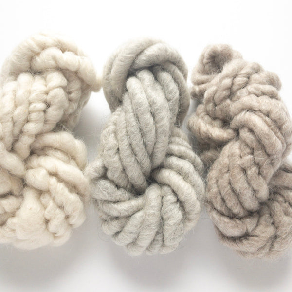 Farmhouse collection of three mini skeins in white and gray and brown corespun mohair yarn