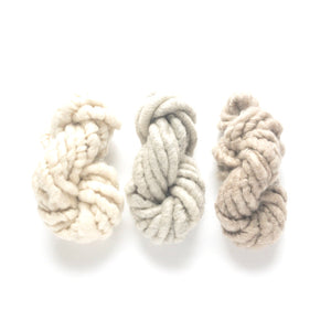 Farmhouse white and gray and brown corespun mohair mini skein yarn three pack