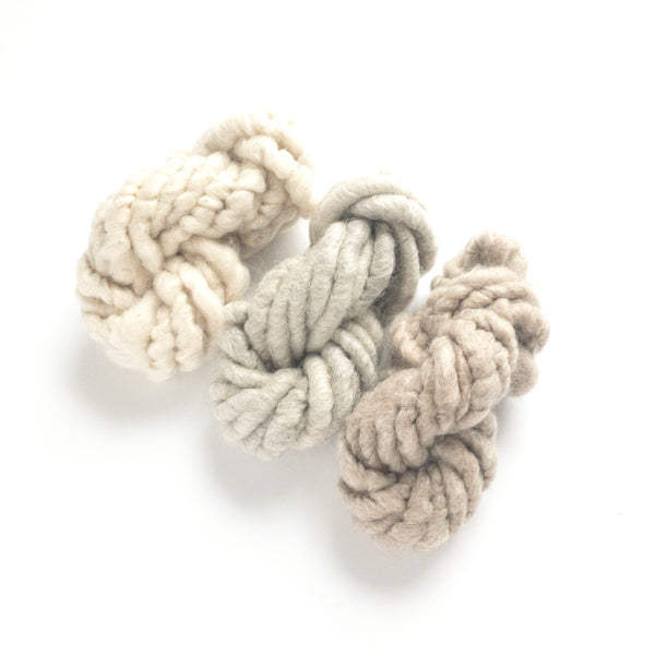 Farmhouse white and gray and brown corespun mohair mini skein fiber three pack