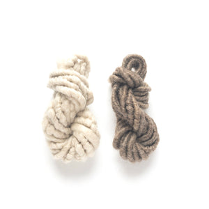 Hot cocoa yarn pack of two white and brown corespun mohair mini skein yarn