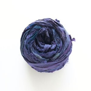Midnight Plum Sari Silk Ribbon