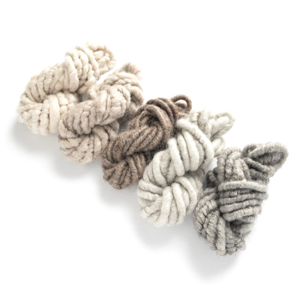 5 shades of white and brown and gray and black mohair corespun yarn collection
