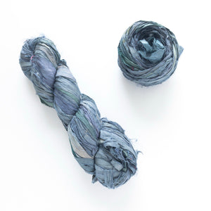 Pewter Sari Silk Ribbon