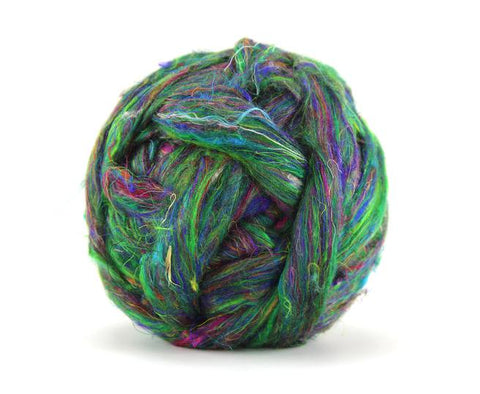 Rain Forest Sari Silk Roving