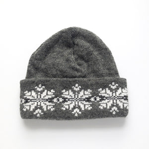 Mohair & Wool Watch Hat - Snowflakes