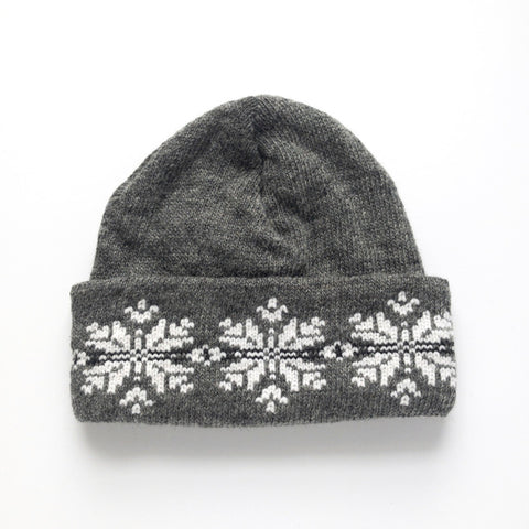 Wool Mohair Watch Hat - Snowflakes
