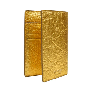 Earth Cover for Passport in Pineapple Leather in Gold