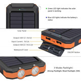 30000mAh Dual USB Power Bank Waterproof Durable Portable Solar Charger 2 LED light