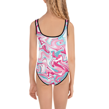 Load image into Gallery viewer, Marble Pink Kids Swimsuit ( Black ) - iGAME Clothing
