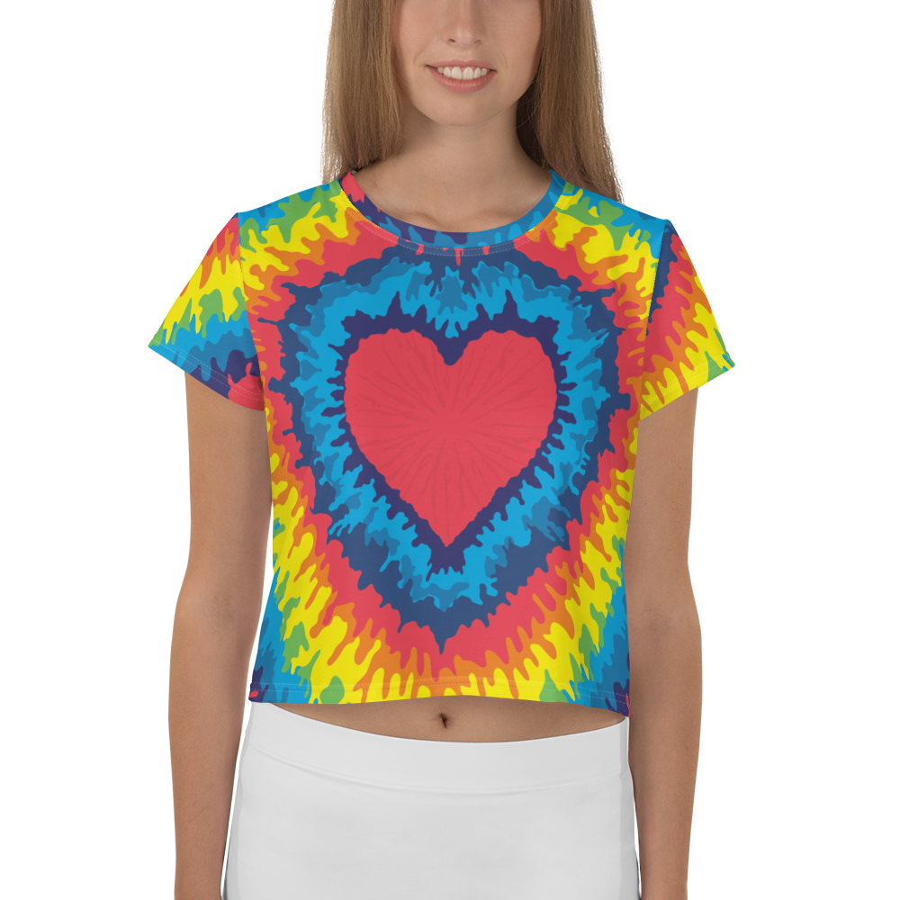 Heart Tie Die Crop Top - iGAME Clothing
