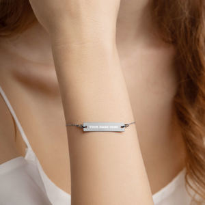 Engraved Silver Bar Chain Bracelet - iGAME Clothing