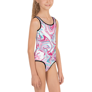 Marble Pink Kids Swimsuit ( Black ) - iGAME Clothing