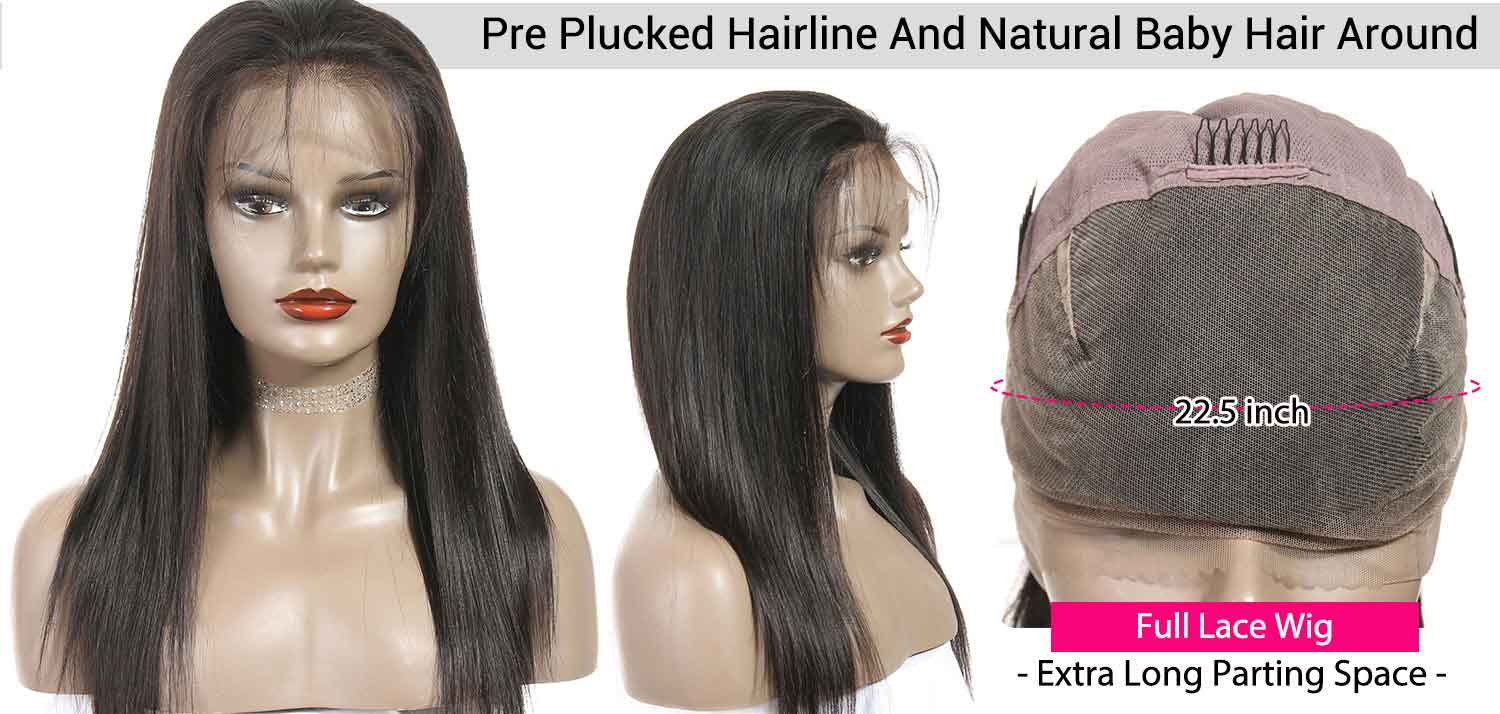 Full Lace Wigs Straight Human Hair Wigs-2
