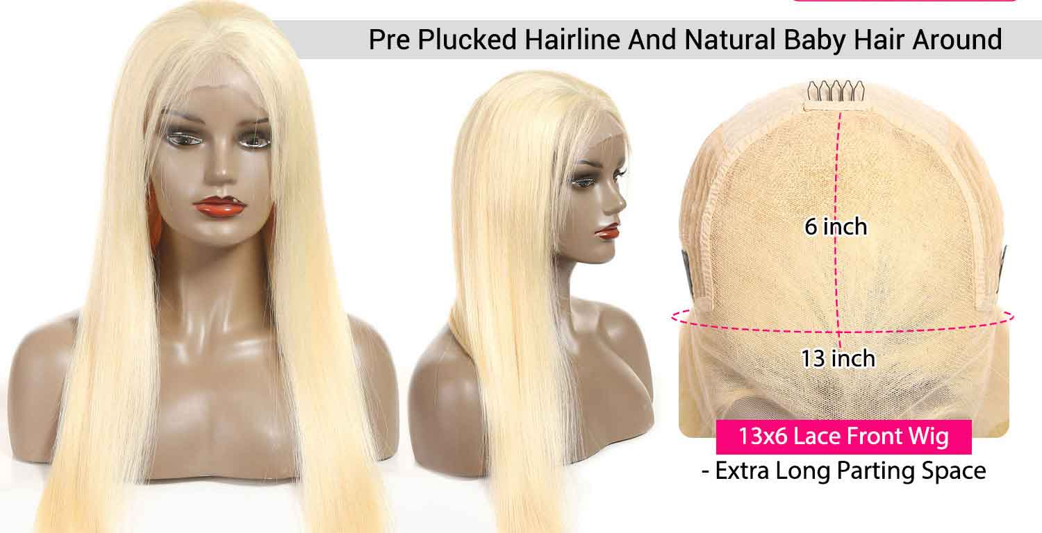 Blonde Straight Human Hair Wigs-3