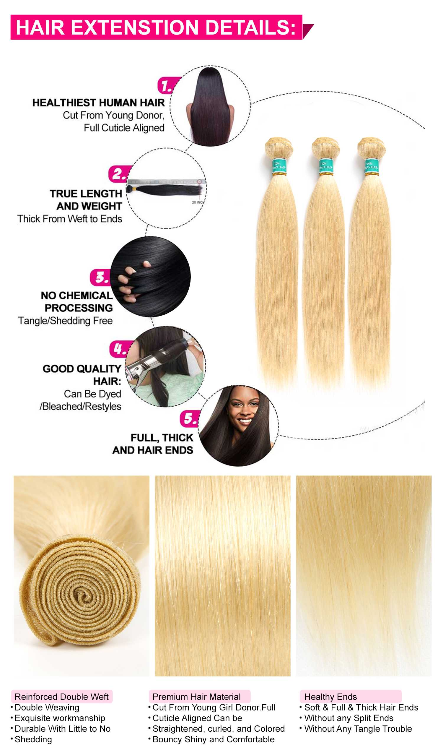 Brazilian 613 blonde Straight Hair 3 Bundles-4
