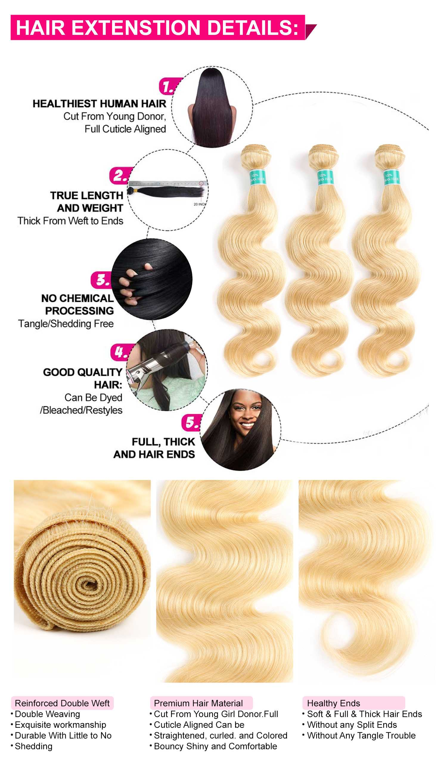 613 Blonde Body Wave With Closure-4
