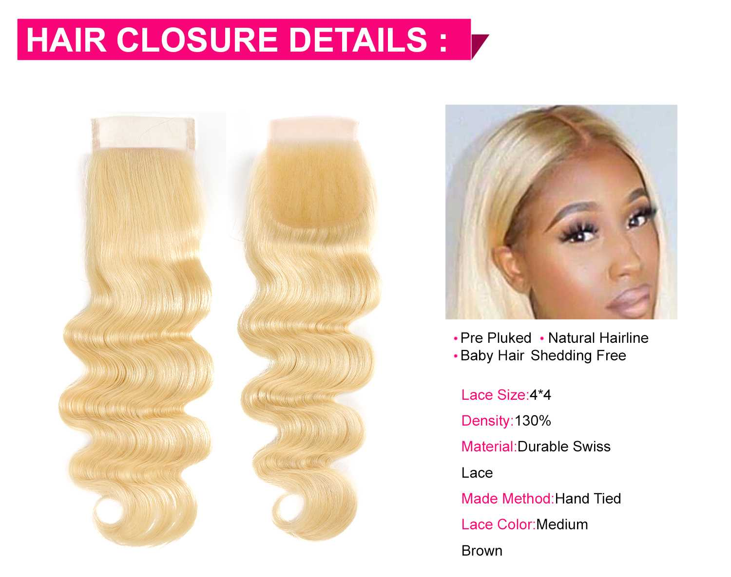 613 Blonde Body Wave With Closure-5