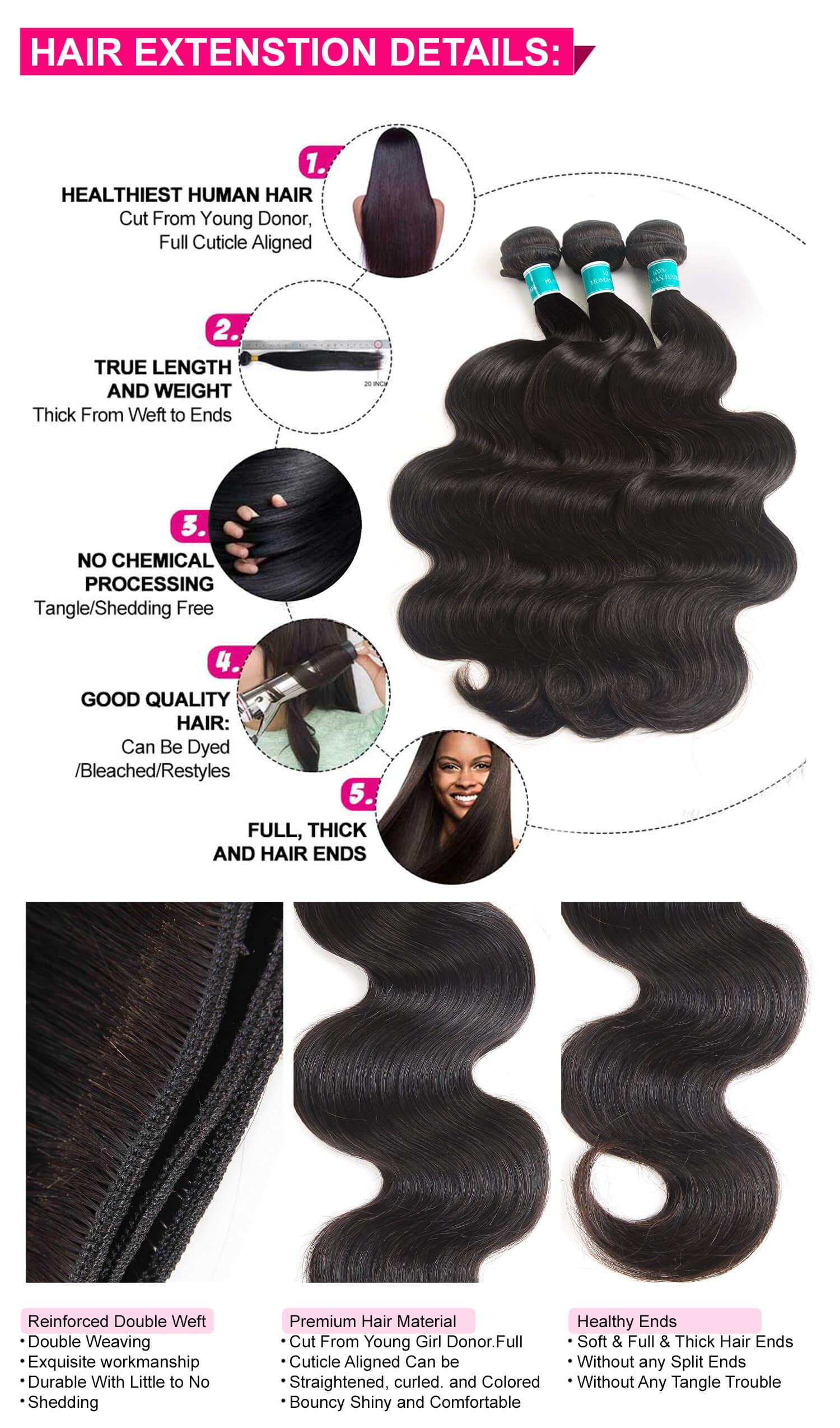 Body Wave Hair Bundles With Lace Closure-4