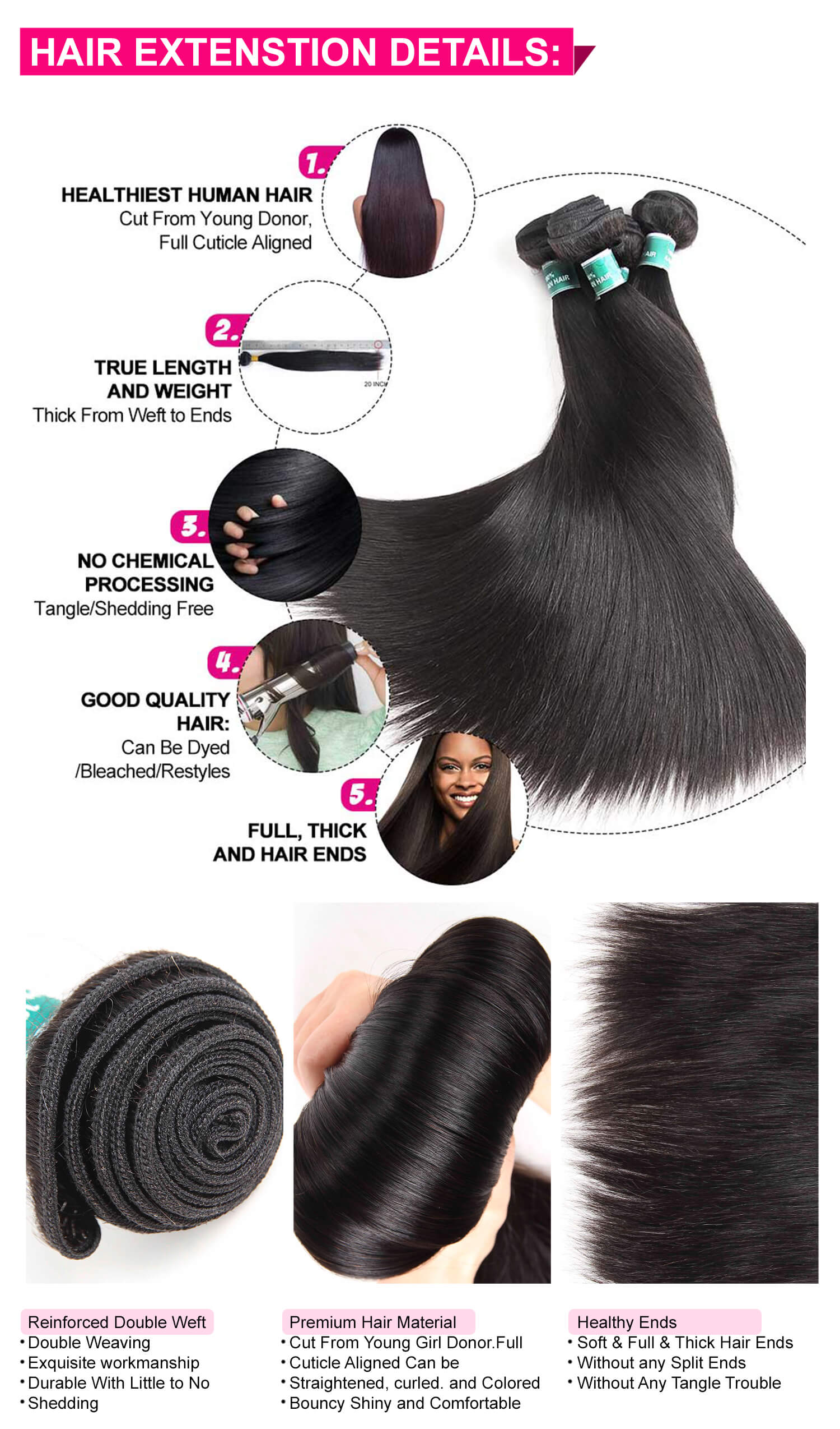 Brazilian Straight Hair Bundles With Lace Closure-4