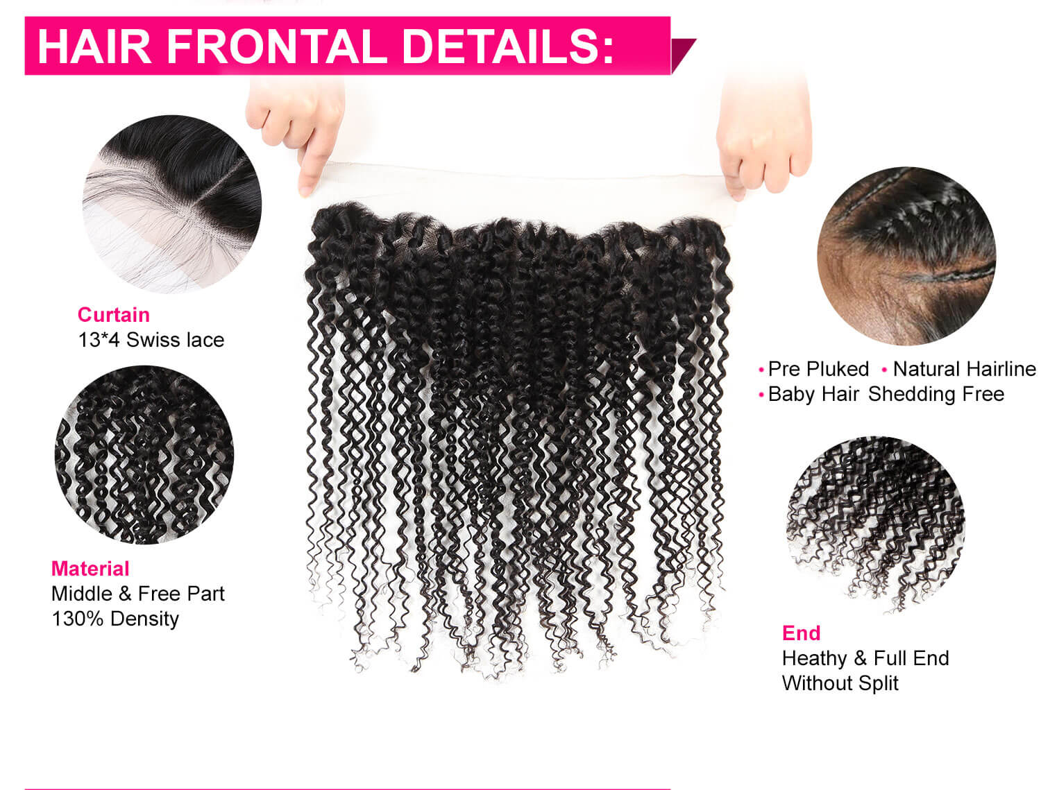Kinky Curly Hair Bundles With Lace Frontal-5