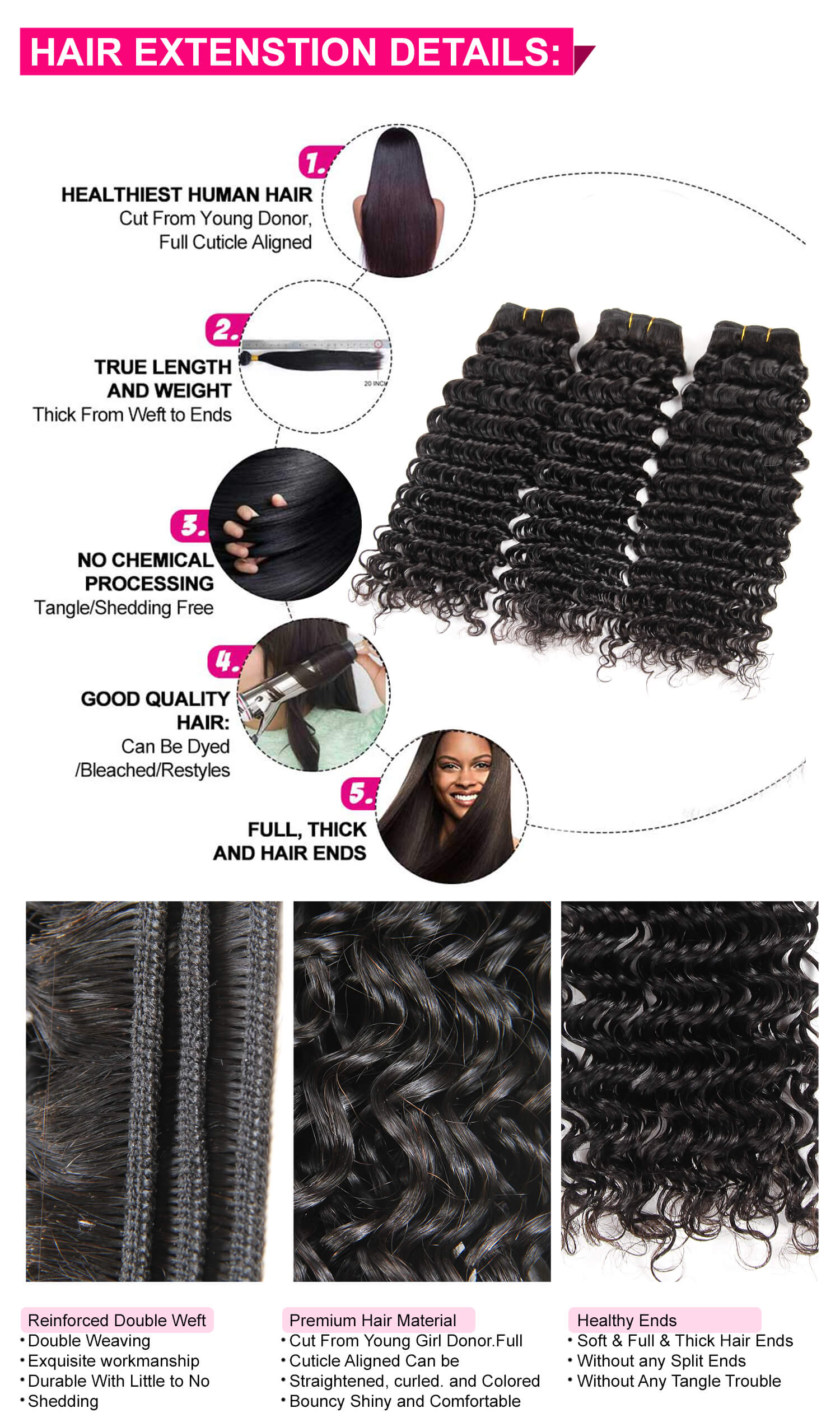 Malaysian Deep Wave Human Hair 3 Bundles-4