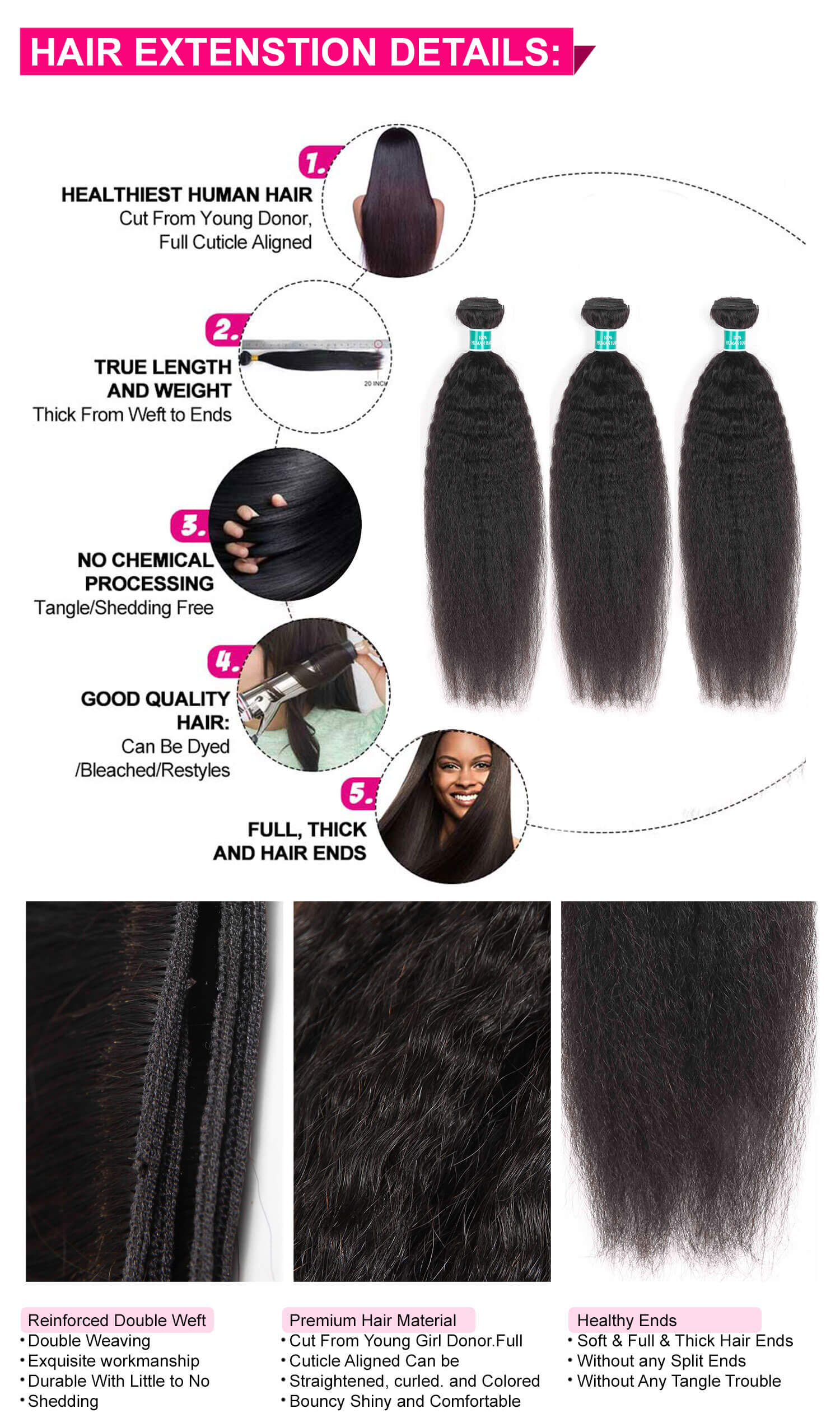 Kinky Straight Human Hair 3 Bundles-4