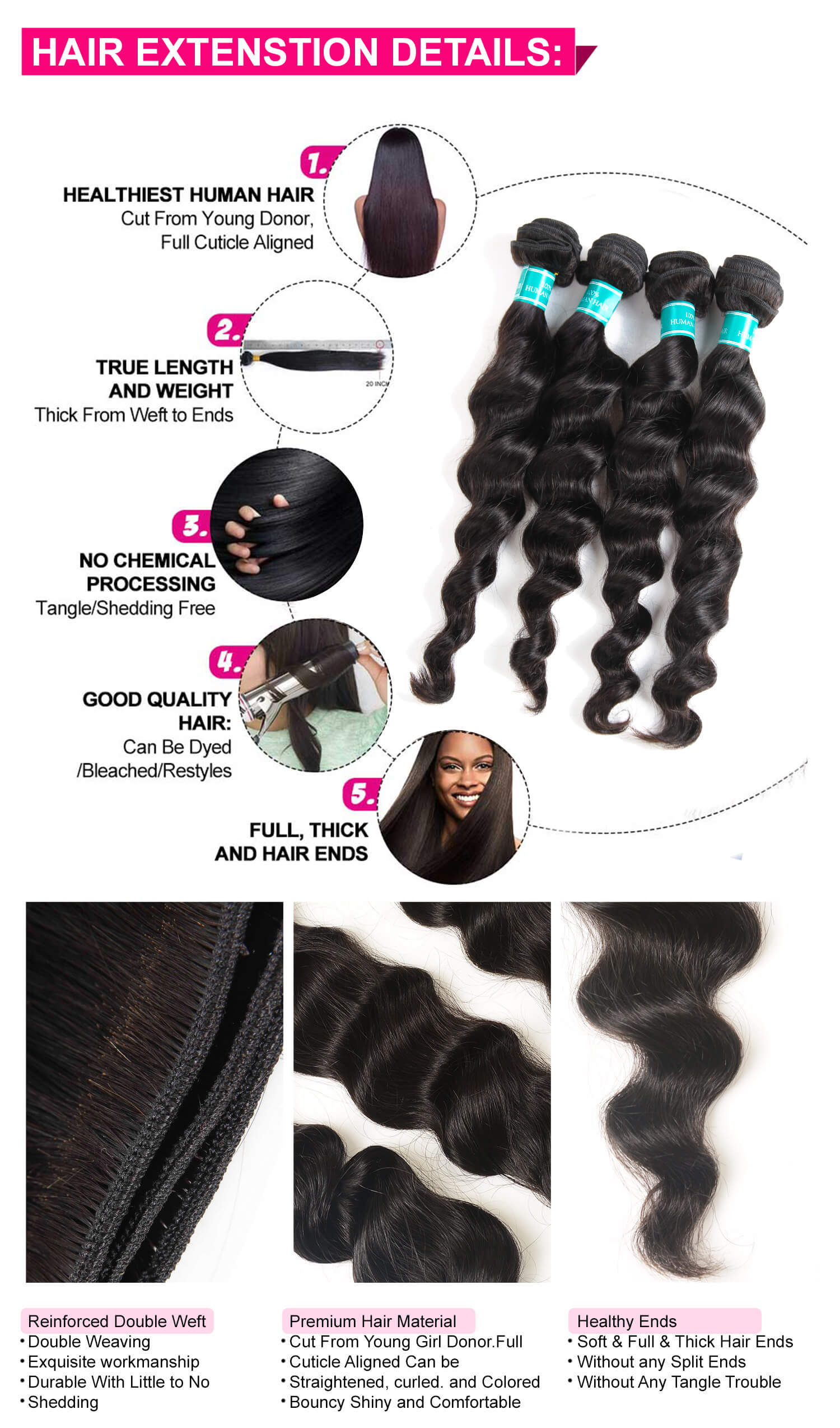 Loose Wave Human Hair Weave Bundles-4