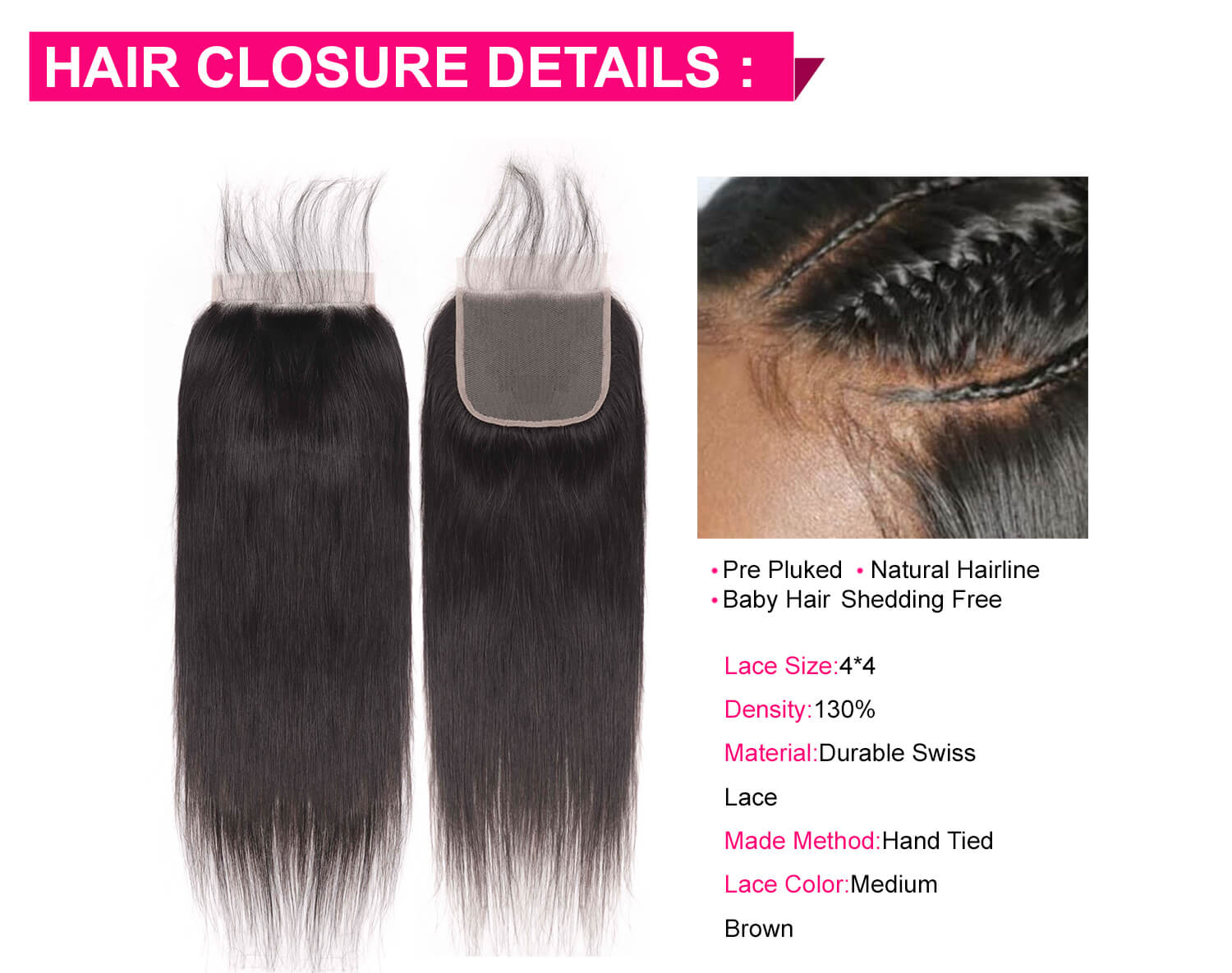 Straight Hair Bundles With Lace Closure-5
