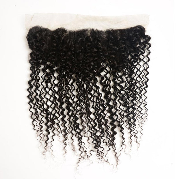 Ali Grace Brazilian Kinky Curly Lace Frontal 13x4 Lace Frontal Closure Medium Brown Swiss Lace Closure 130% Density No Shedding