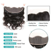 Brazilian Body Wave 13*4 Lace Frontal Free Part HD Lace Frontal with Baby Hair Malaysian 13X4 Lace Frontal AliGrace