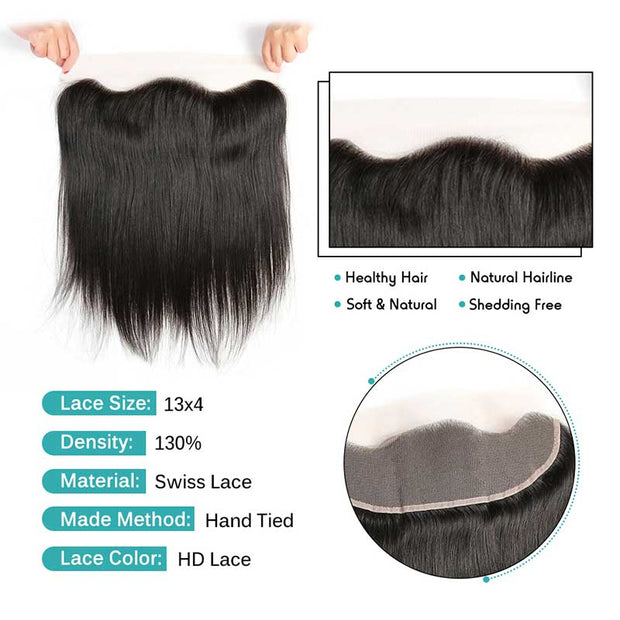 Brazilian Straight Hair 13*4 Lace Frontal HD Lace Free Part Narutal Color Straight Human Hair Lace Frontal 130% Density Malaysian 13X4 Lace Frontal AliGrace